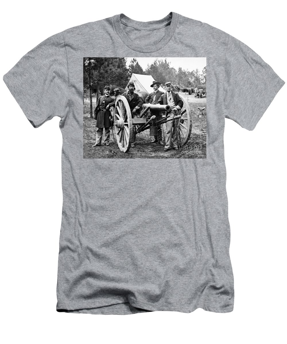 1862 Men's T-Shirt (Athletic Fit) featuring the photograph Civil War: Union Officers by Granger