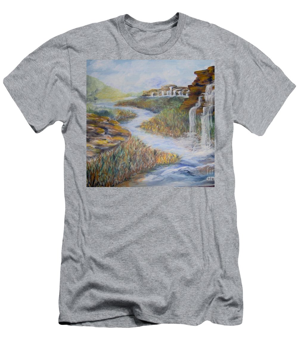 Waterfall Men's T-Shirt (Athletic Fit) featuring the painting Cleansing by Saundra Johnson