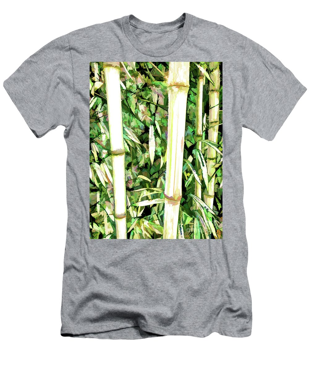 Art Of Bamboo Men's T-Shirt (Athletic Fit) featuring the painting Close Up Big Fresh Bamboo by Jeelan Clark