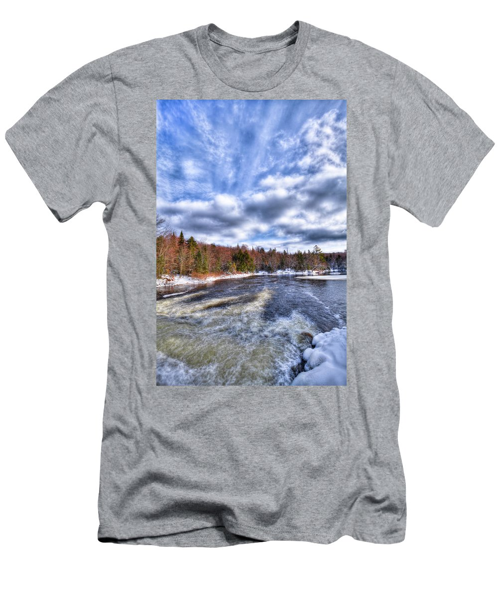 Landscapes Men's T-Shirt (Athletic Fit) featuring the photograph Clouds Above The Lock And Dam by David Patterson