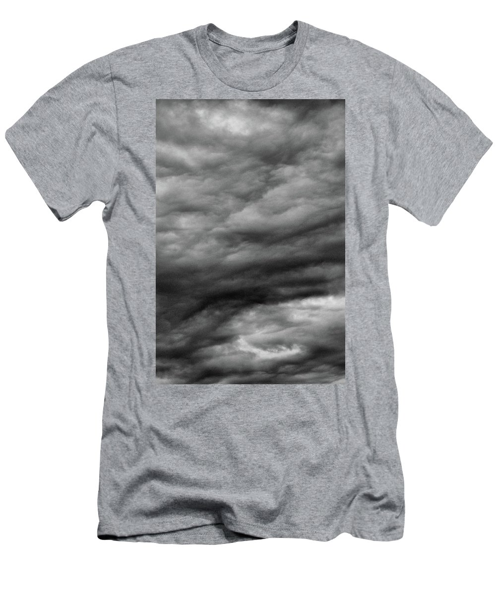 Clouds Men's T-Shirt (Athletic Fit) featuring the photograph Clouds At Dusk Bw by Lyle Crump