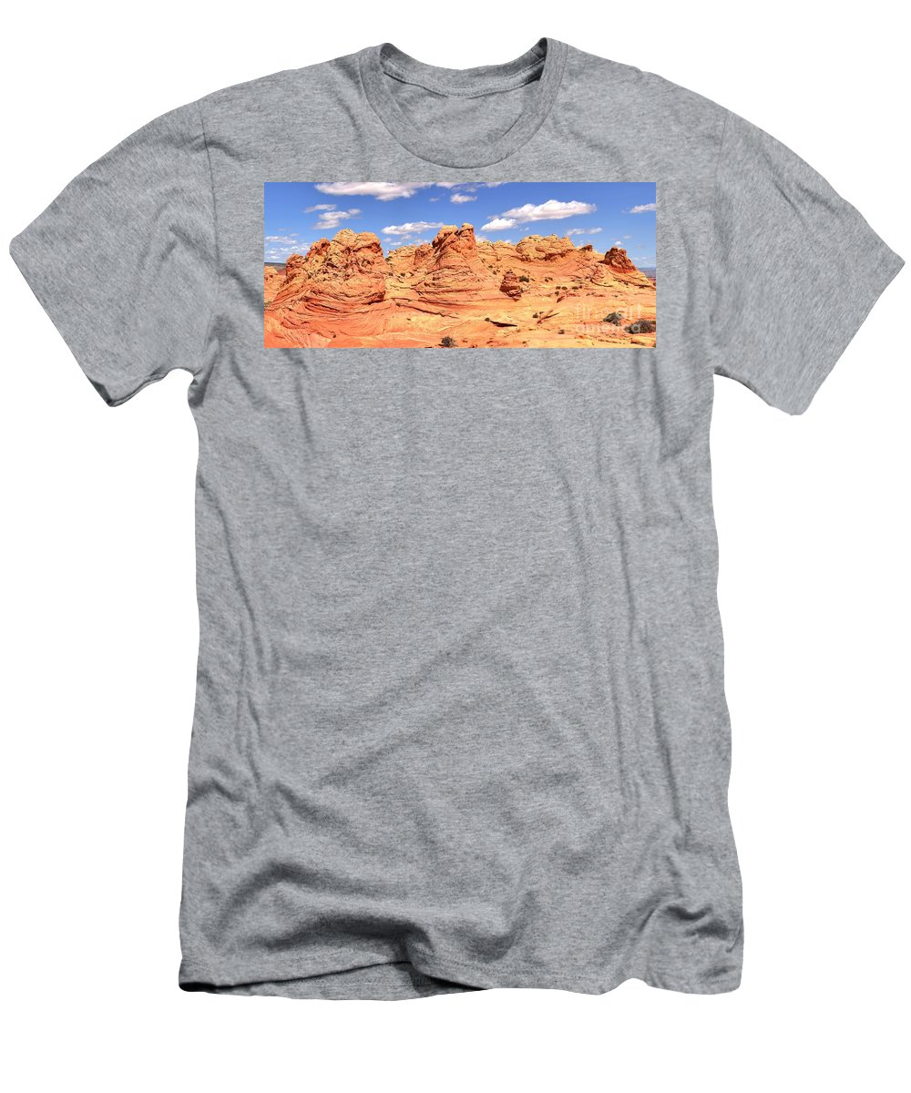 Vermilion Cliffs Panorama Men's T-Shirt (Athletic Fit) featuring the photograph Clouds Over Candyland by Adam Jewell