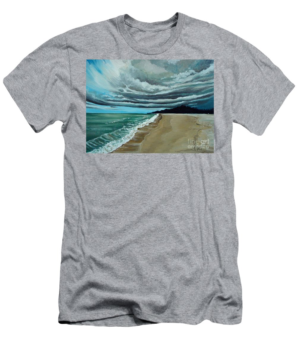 Landscape.beach Men's T-Shirt (Athletic Fit) featuring the painting Clouds Rolling In by Elizabeth Robinette Tyndall