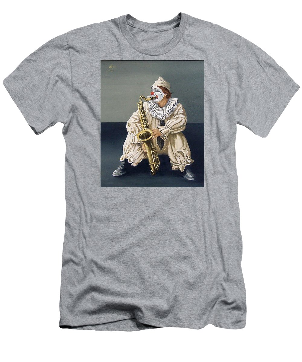 Clown Figurative Portrait People Men's T-Shirt (Athletic Fit) featuring the painting Clown by Natalia Tejera