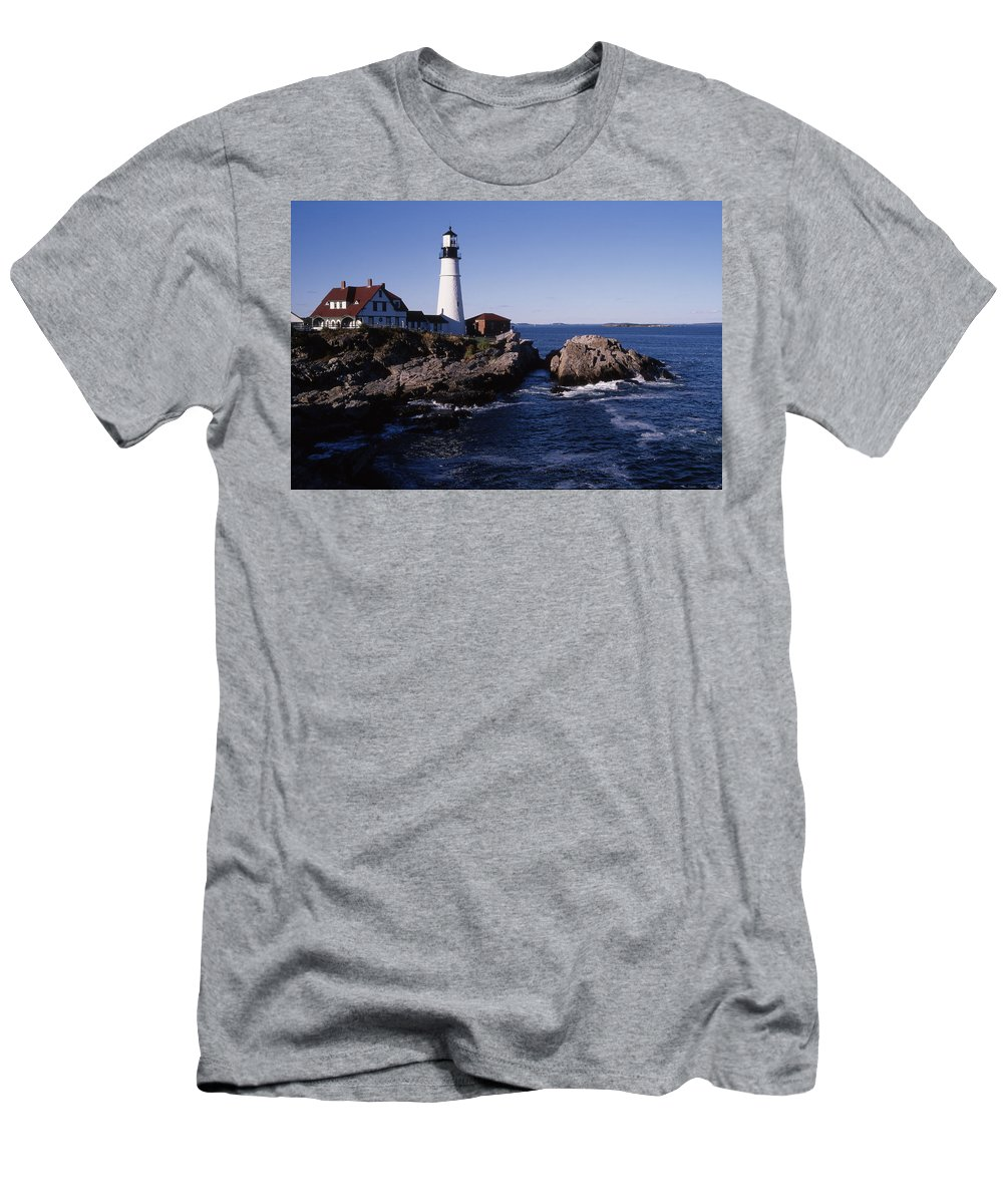 Landscape New England Lighthouse Nautical Coast Men's T-Shirt (Athletic Fit) featuring the photograph Cnrf0910 by Henry Butz