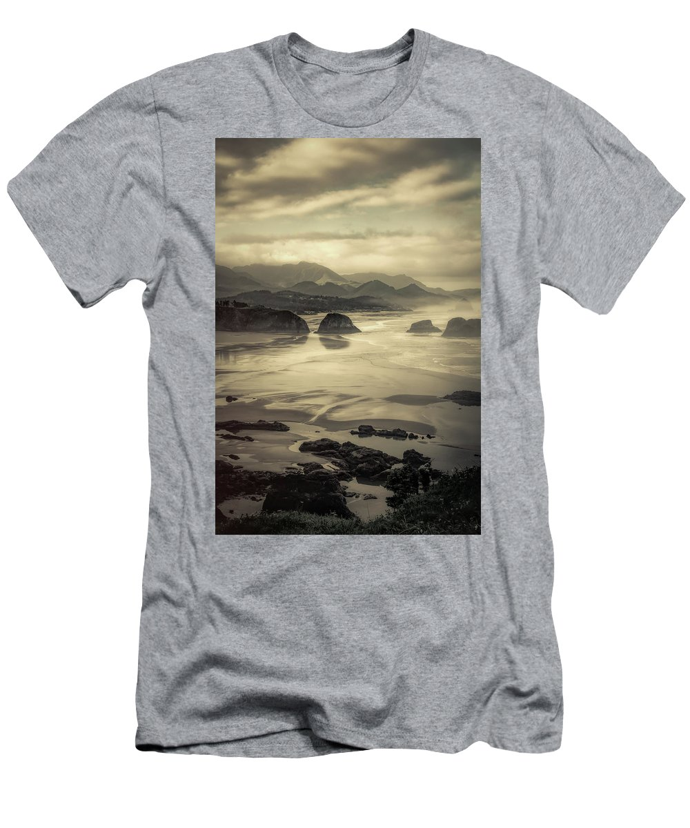 Cannon Beach Men's T-Shirt (Athletic Fit) featuring the photograph Coastal Dawn by Don Schwartz