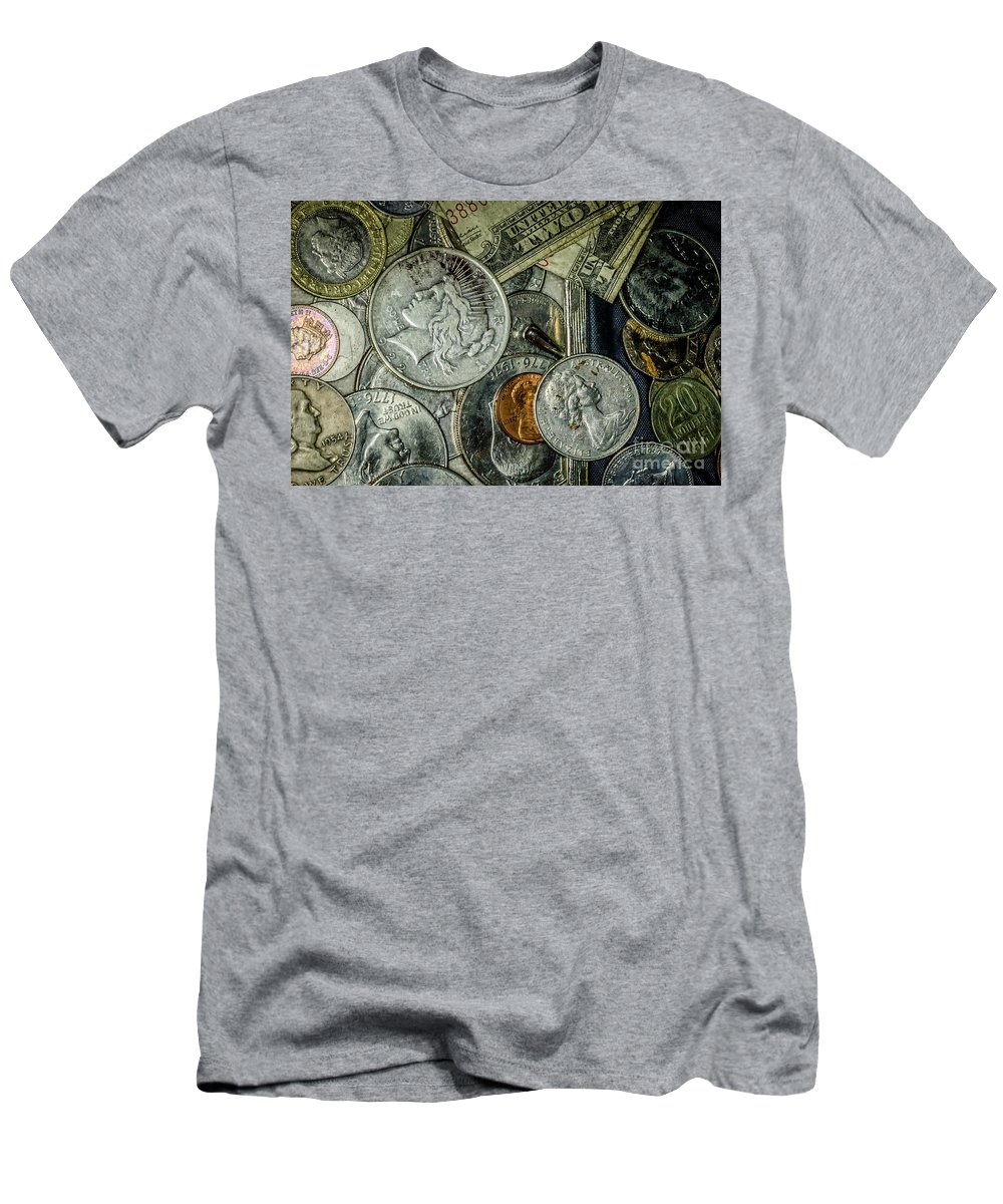 Coins Men's T-Shirt (Athletic Fit) featuring the photograph Coins And Bills by Kathleen K Parker