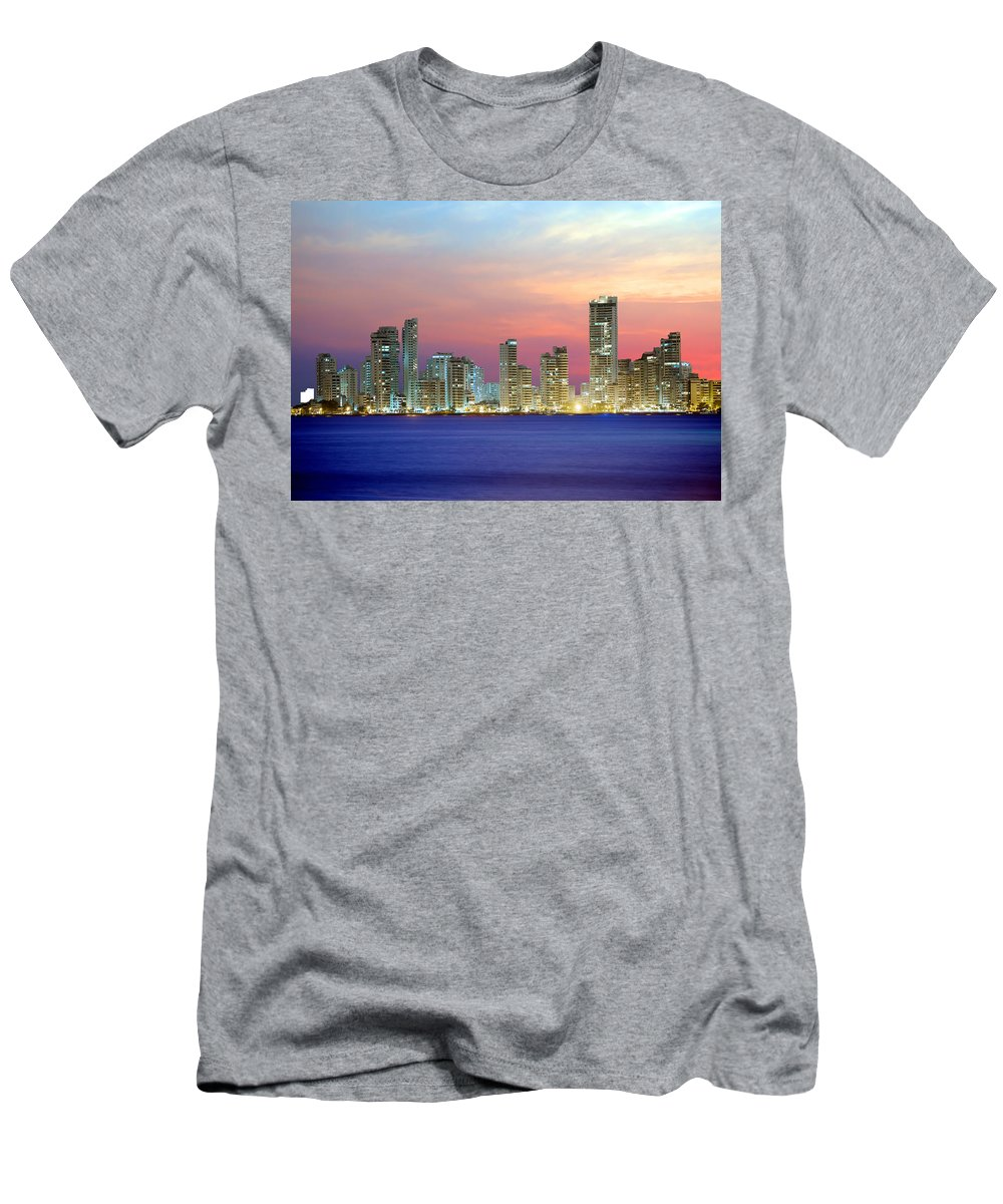 South America Men's T-Shirt (Athletic Fit) featuring the photograph Colombia. Cartagena. The City At Night. by Galina Savina