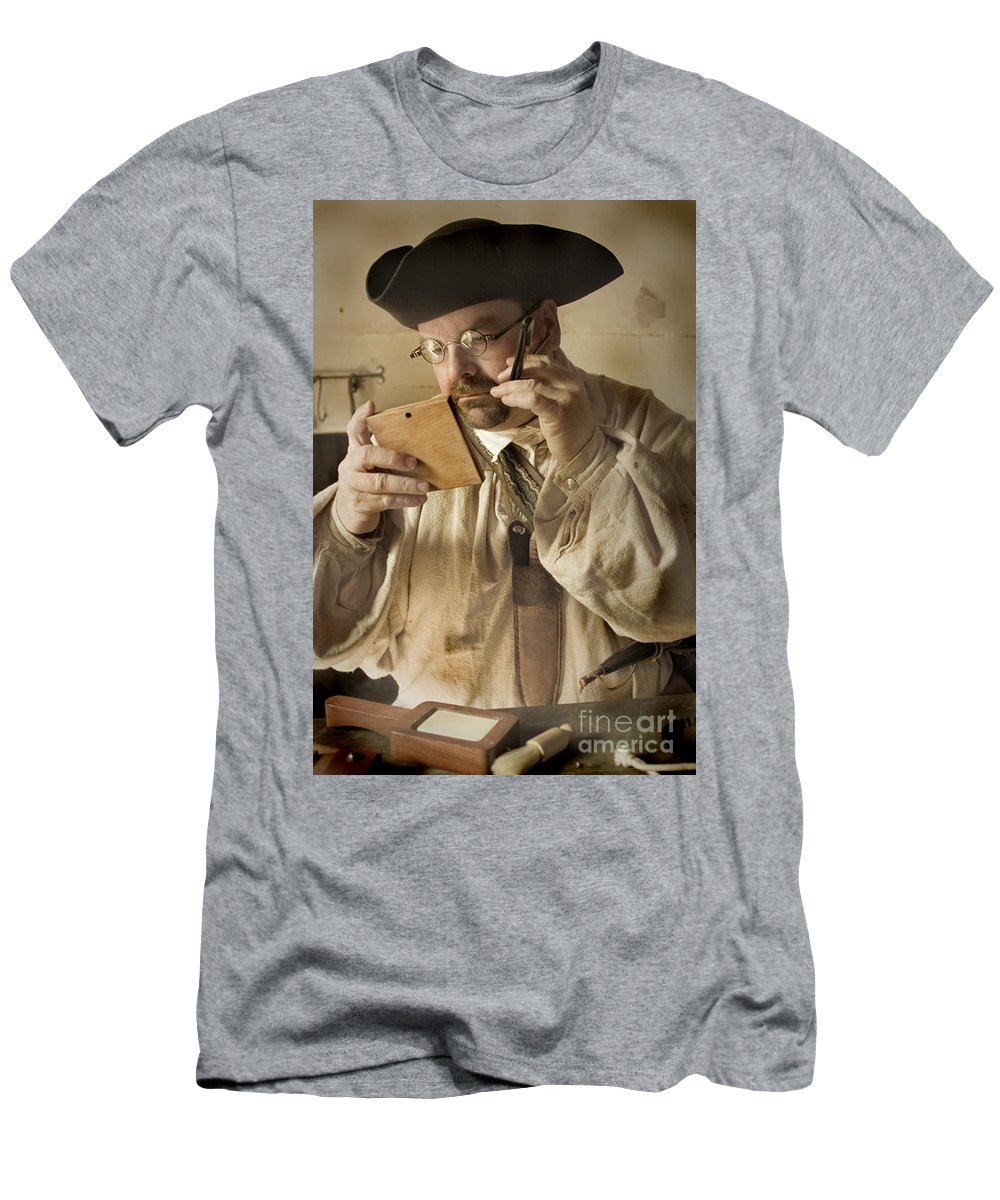Primitive Men's T-Shirt (Athletic Fit) featuring the photograph Colonial Man Shaving by Kim Henderson