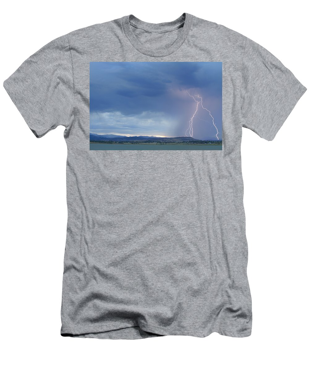 July Men's T-Shirt (Athletic Fit) featuring the photograph Colorado Rocky Mountains Foothills Lightning Strikes by James BO Insogna