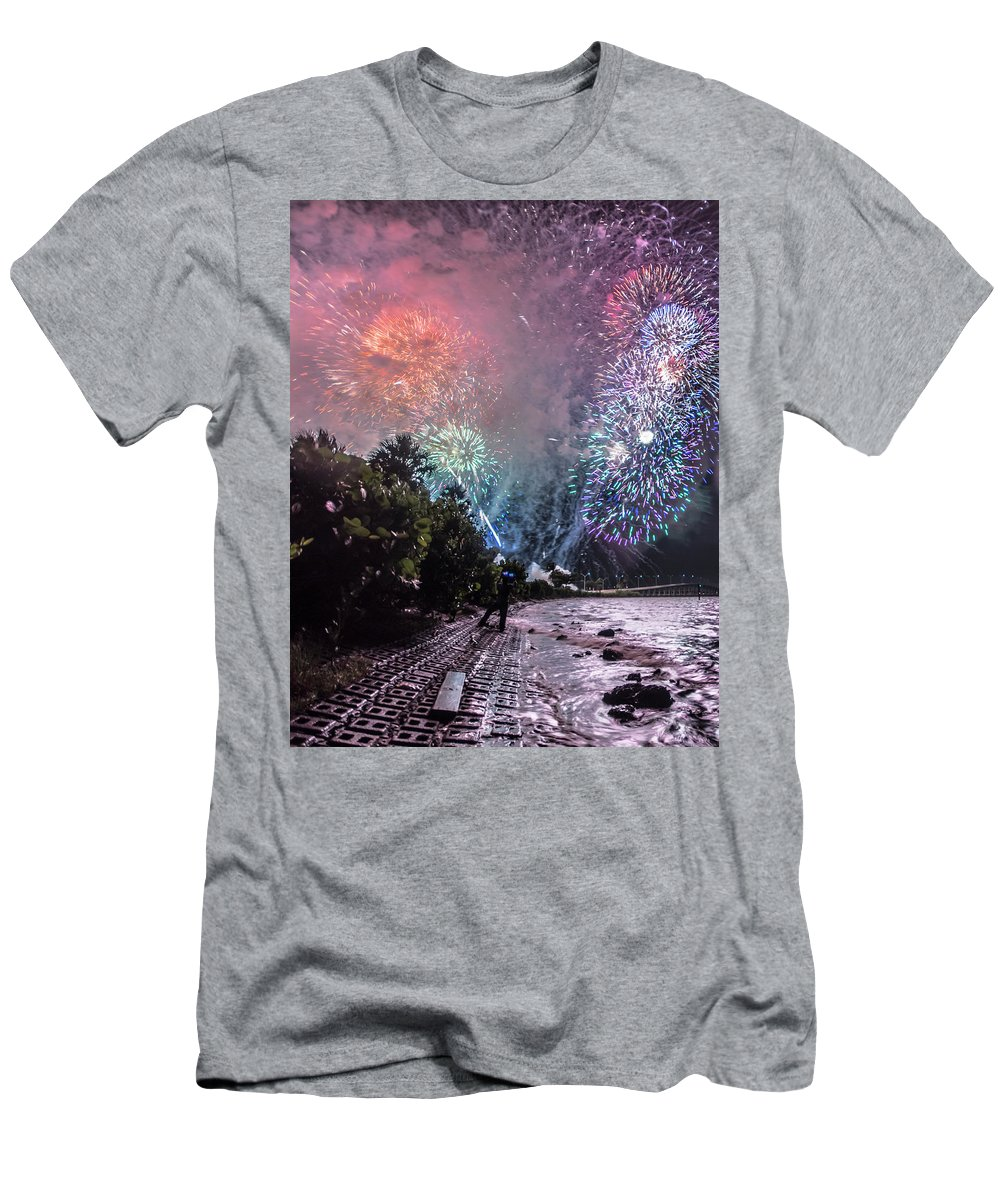 Colorful Explosions. Explosions Men's T-Shirt (Athletic Fit) featuring the photograph Colorful Explosions by Michael Frizzell