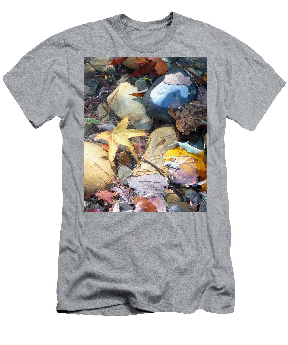Leaves Men's T-Shirt (Athletic Fit) featuring the photograph Colorful Leaves And Rocks In Creek by Carol Groenen