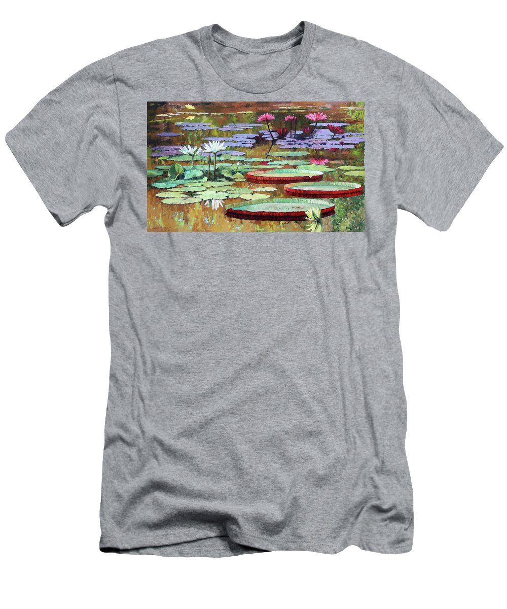 Garden Pond T-Shirt featuring the painting Colors on the Lily Pond by John Lautermilch