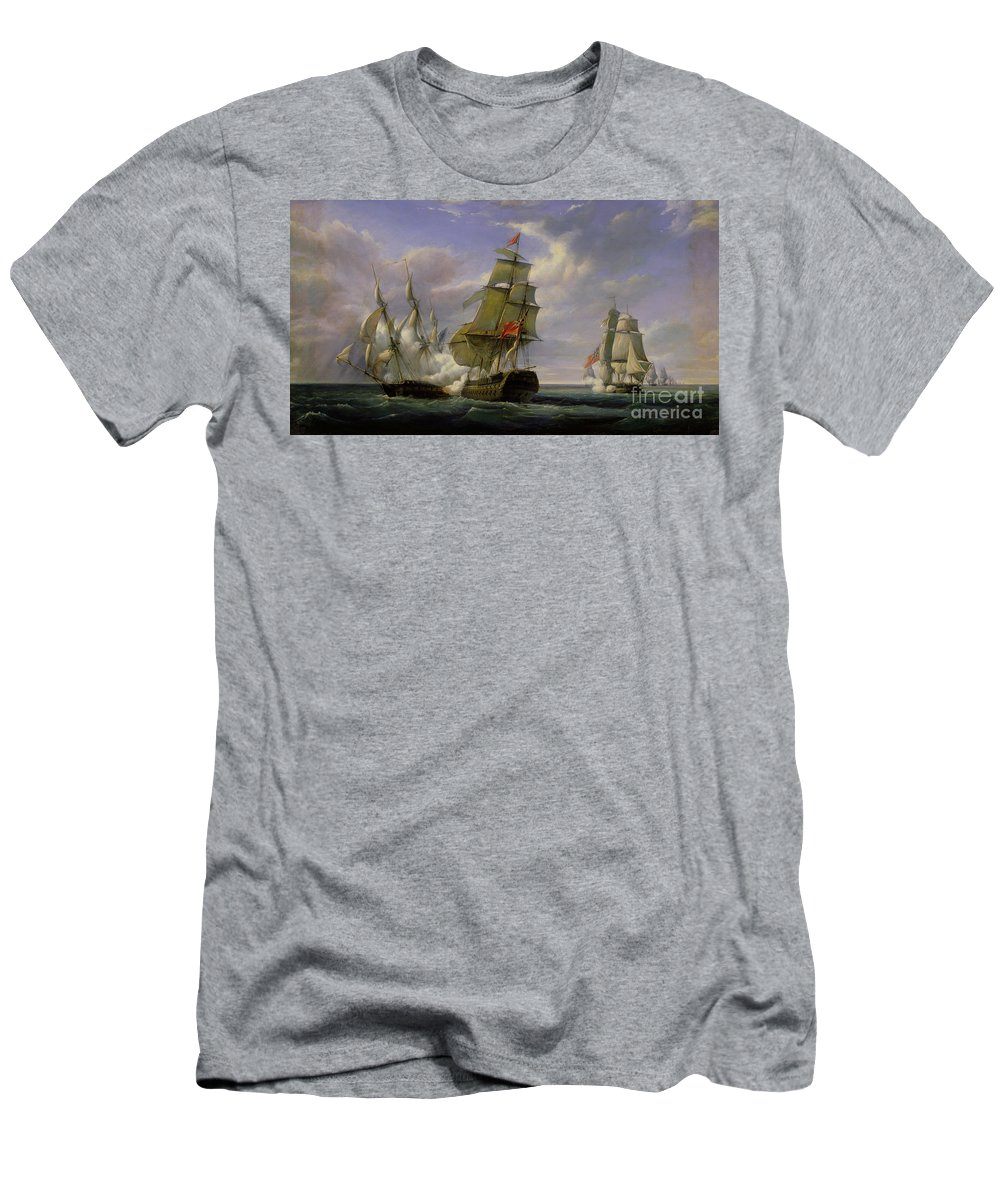 Combat T-Shirt featuring the painting Combat Between The French Frigate La Canonniere And The English Vessel The Tremendous by Pierre Julien Gilbert