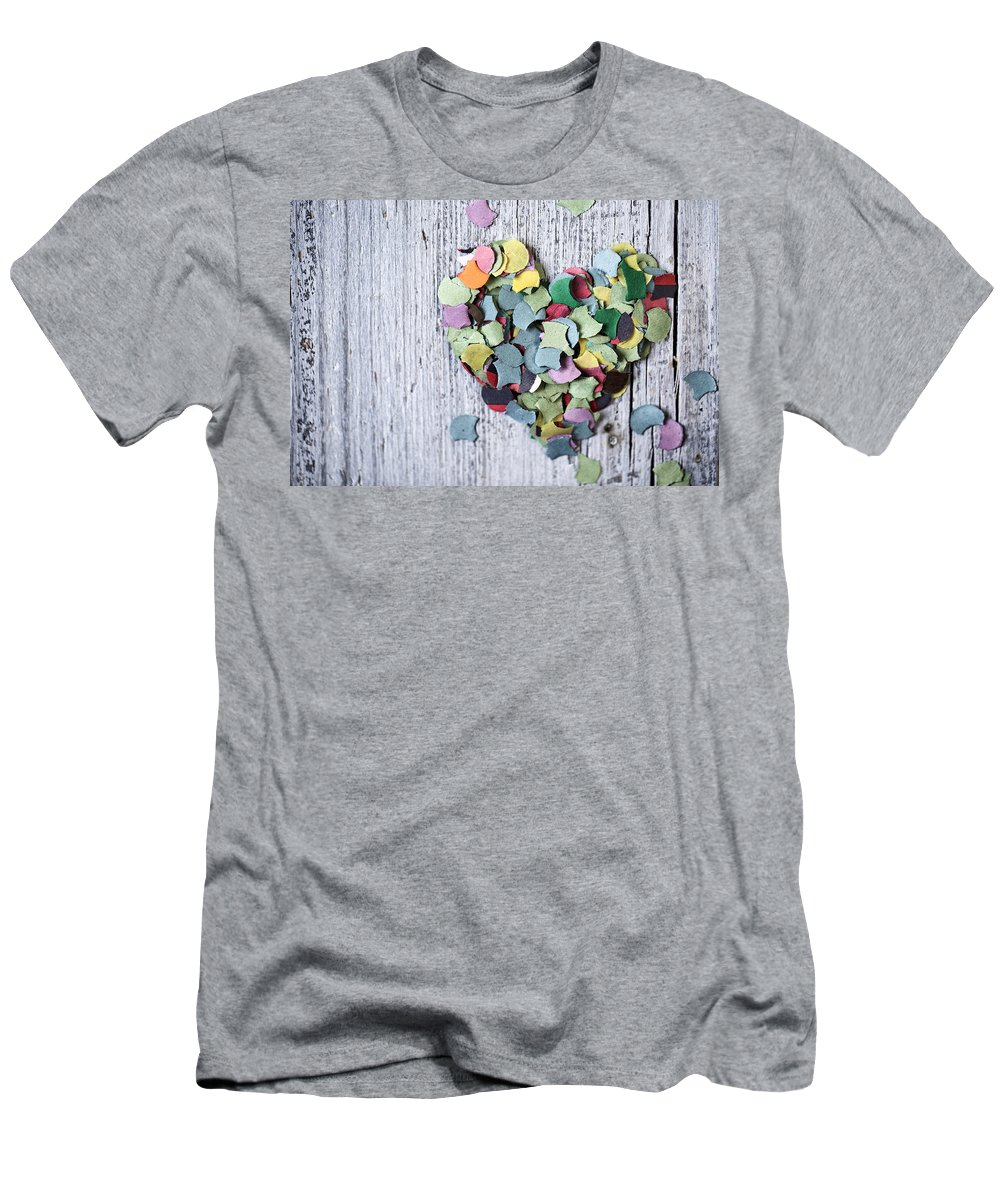 Heart Men's T-Shirt (Athletic Fit) featuring the photograph Confetti Heart by Nailia Schwarz