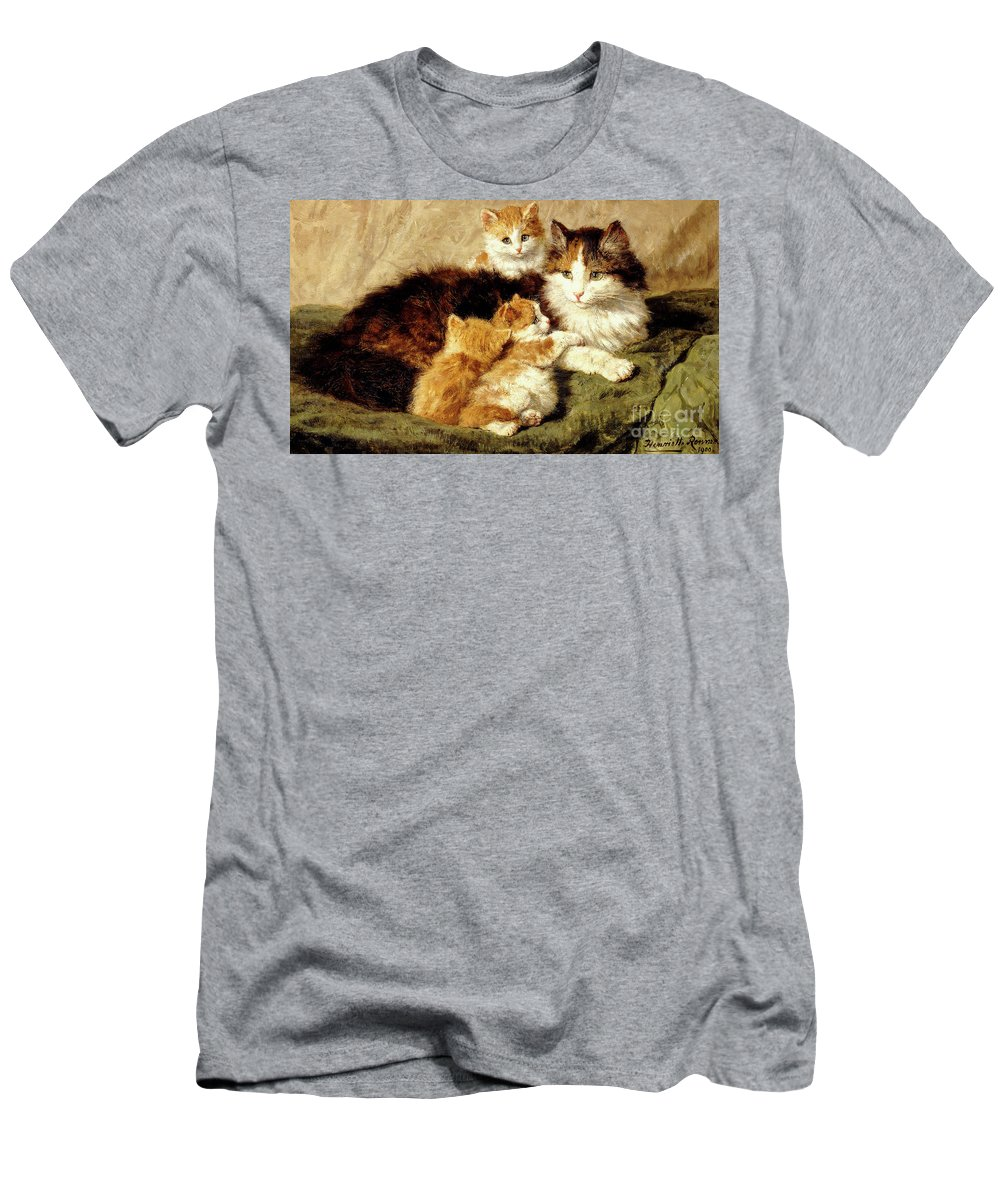 Cat Men's T-Shirt (Athletic Fit) featuring the painting Contentment by Henriette Ronner-Knip