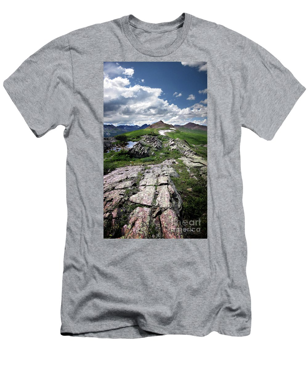 Weminuche Wilderness Men's T-Shirt (Athletic Fit) featuring the photograph Continental Divide Above Twin Lakes 6 - Weminuche Wilderness by Bruce Lemons