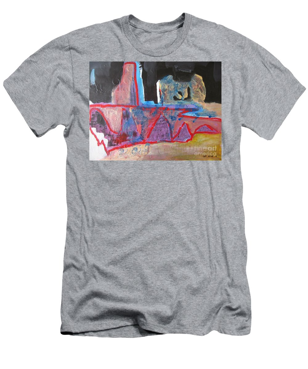Abstract Paintings Men's T-Shirt (Athletic Fit) featuring the painting Contradiction Of Time by Seon-Jeong Kim