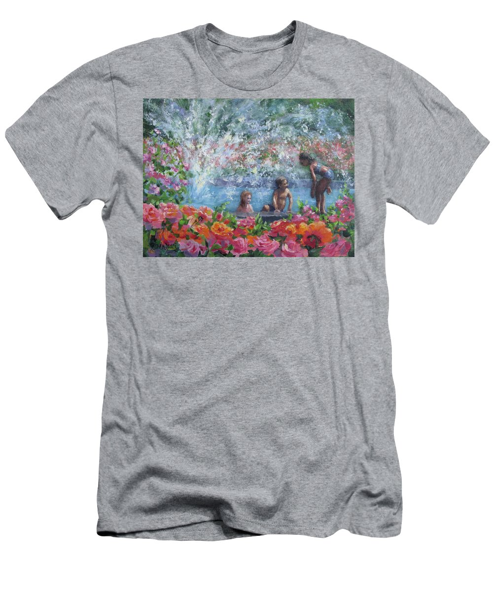 Floral T-Shirt featuring the painting Cooling Off by Karen Ilari