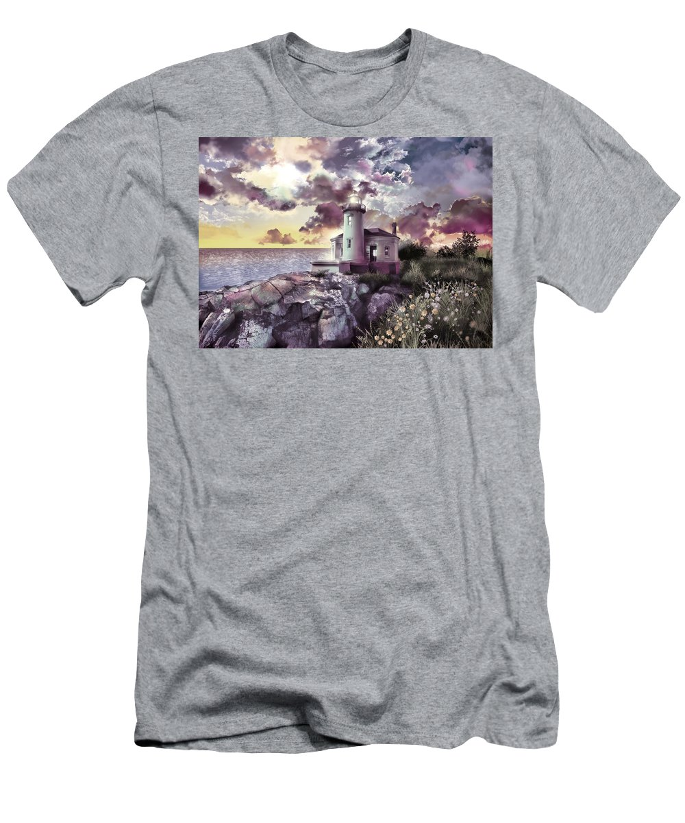 Lighthouse Men's T-Shirt (Athletic Fit) featuring the painting Coquille River Lighthouse 2 by Bekim Art