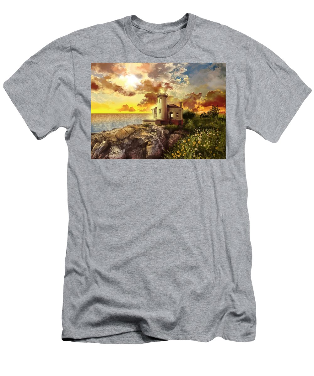 Lighthouse Men's T-Shirt (Athletic Fit) featuring the painting Coquille River Lighthouse by Bekim Art