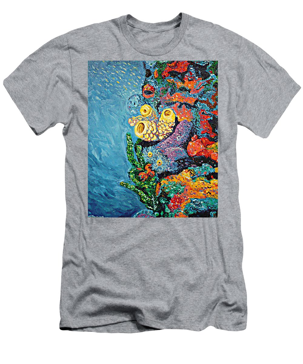 Coral T-Shirt featuring the painting Coral With Cucumber by Ericka Herazo