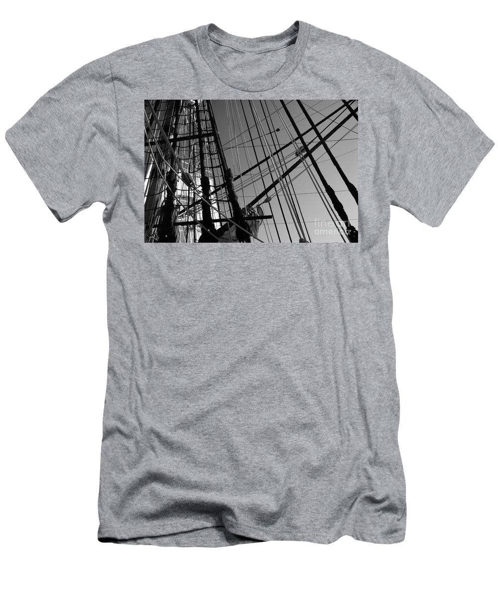 Maritime Men's T-Shirt (Athletic Fit) featuring the photograph Cordage by Linda Shafer