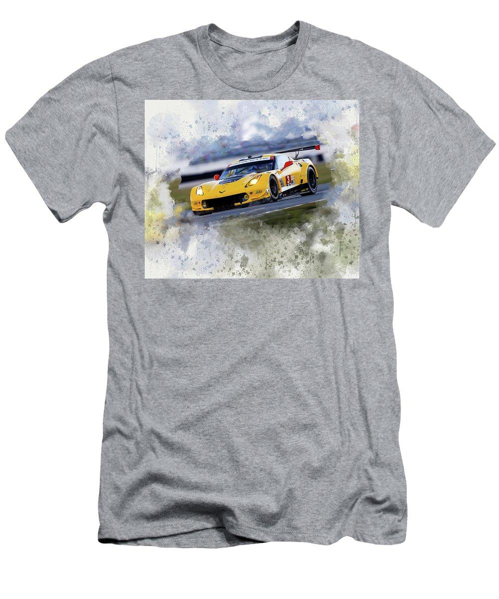 Corvette Men's T-Shirt (Athletic Fit) featuring the digital art Corvette Racing by Karl Knox Images