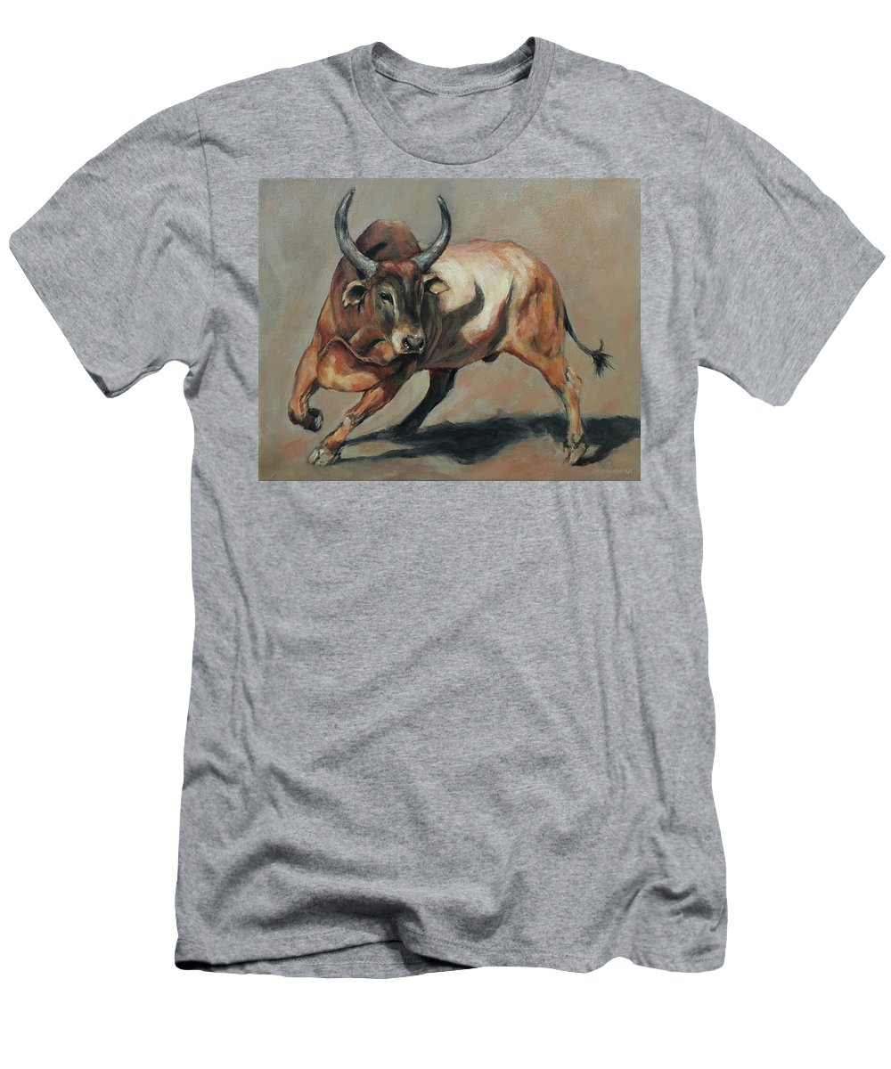 Joan Frimberger Men's T-Shirt (Athletic Fit) featuring the painting Costa Rican Red Bull by Joan Frimberger