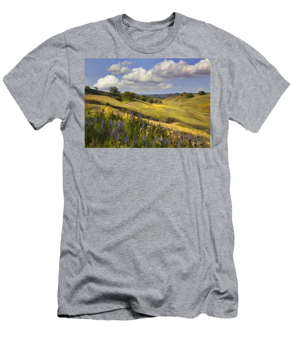 Lupine Men's T-Shirt (Athletic Fit) featuring the digital art Cottonwood Canyon by Sharon Foster
