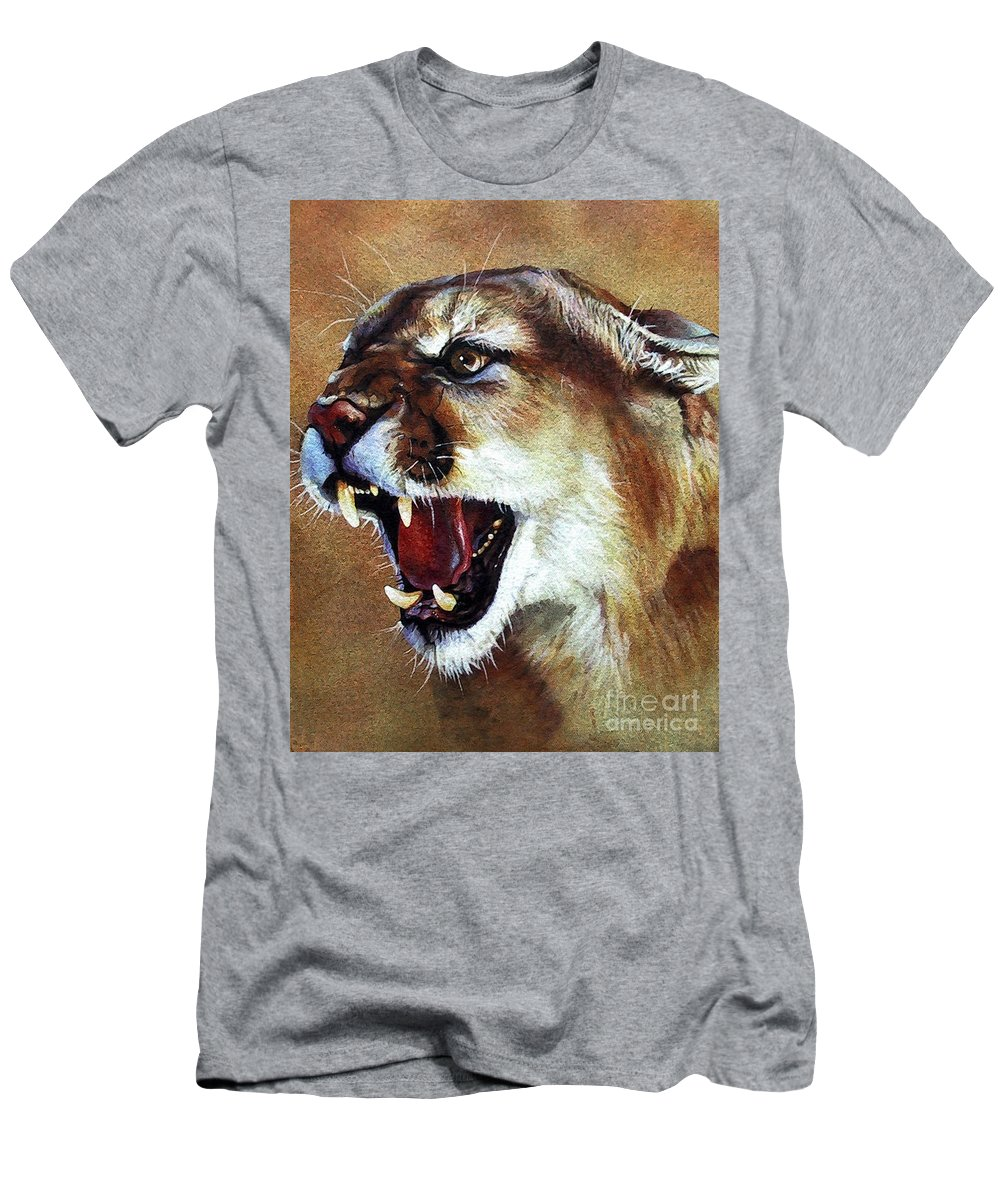 Southwest Art Men's T-Shirt (Athletic Fit) featuring the painting Cougar by J W Baker