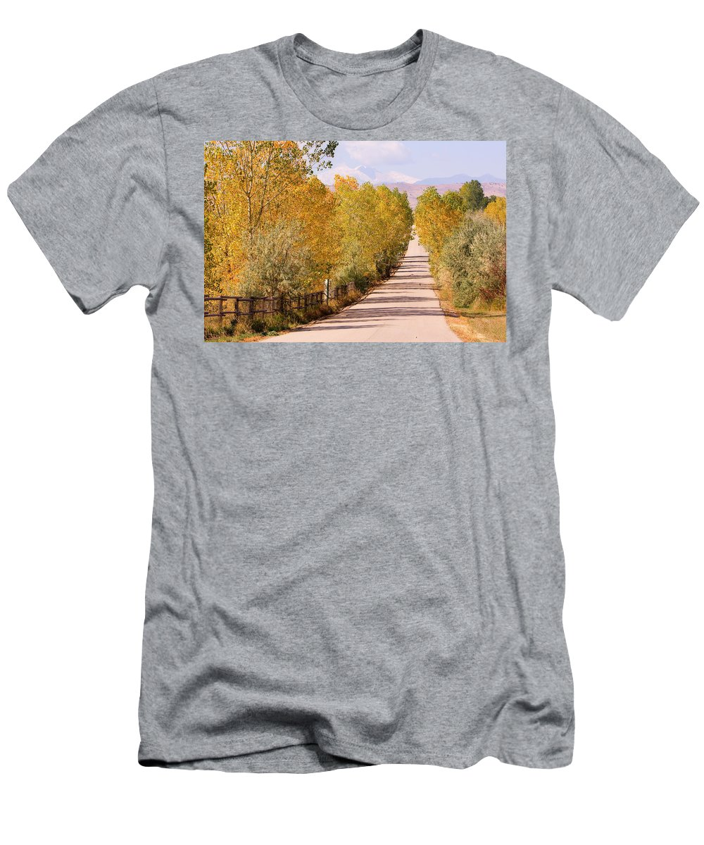 Longs Peak Men's T-Shirt (Athletic Fit) featuring the photograph Country Road Autumn Fall Foliage View Of The Twin Peaks by James BO Insogna