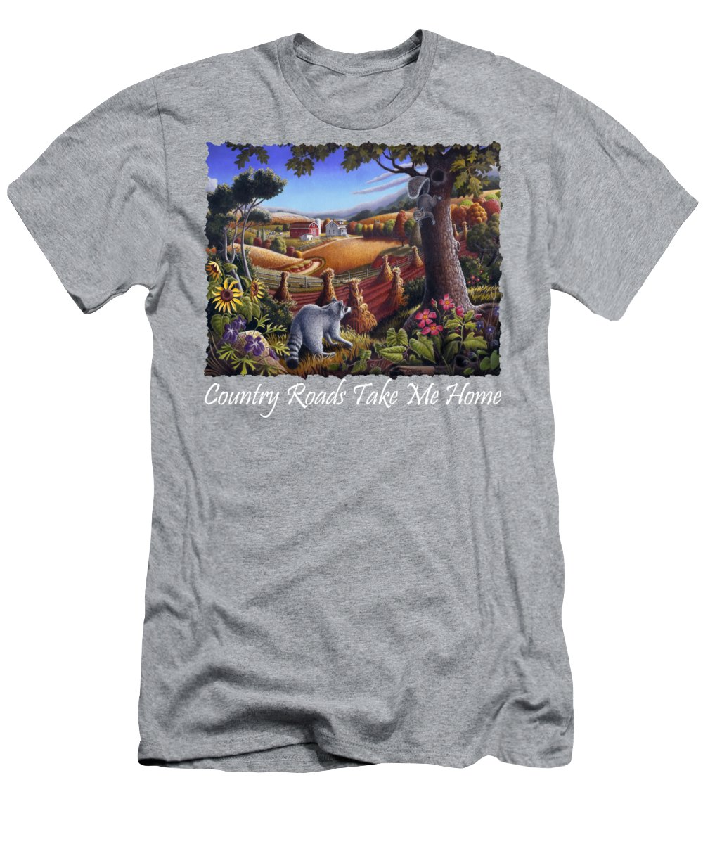 Rural Men's T-Shirt (Athletic Fit) featuring the painting Country Roads Take Me Home T Shirt - Coon Gap Holler - Appalachian Country Landscape 2 by Walt Curlee