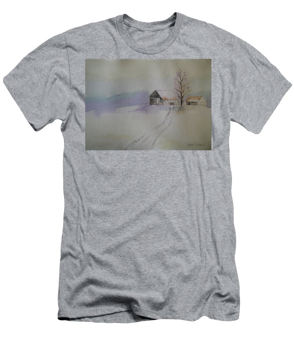 Barn Snow Winter Tree Landscape Cold Men's T-Shirt (Athletic Fit) featuring the painting Country Snow by Patricia Caldwell