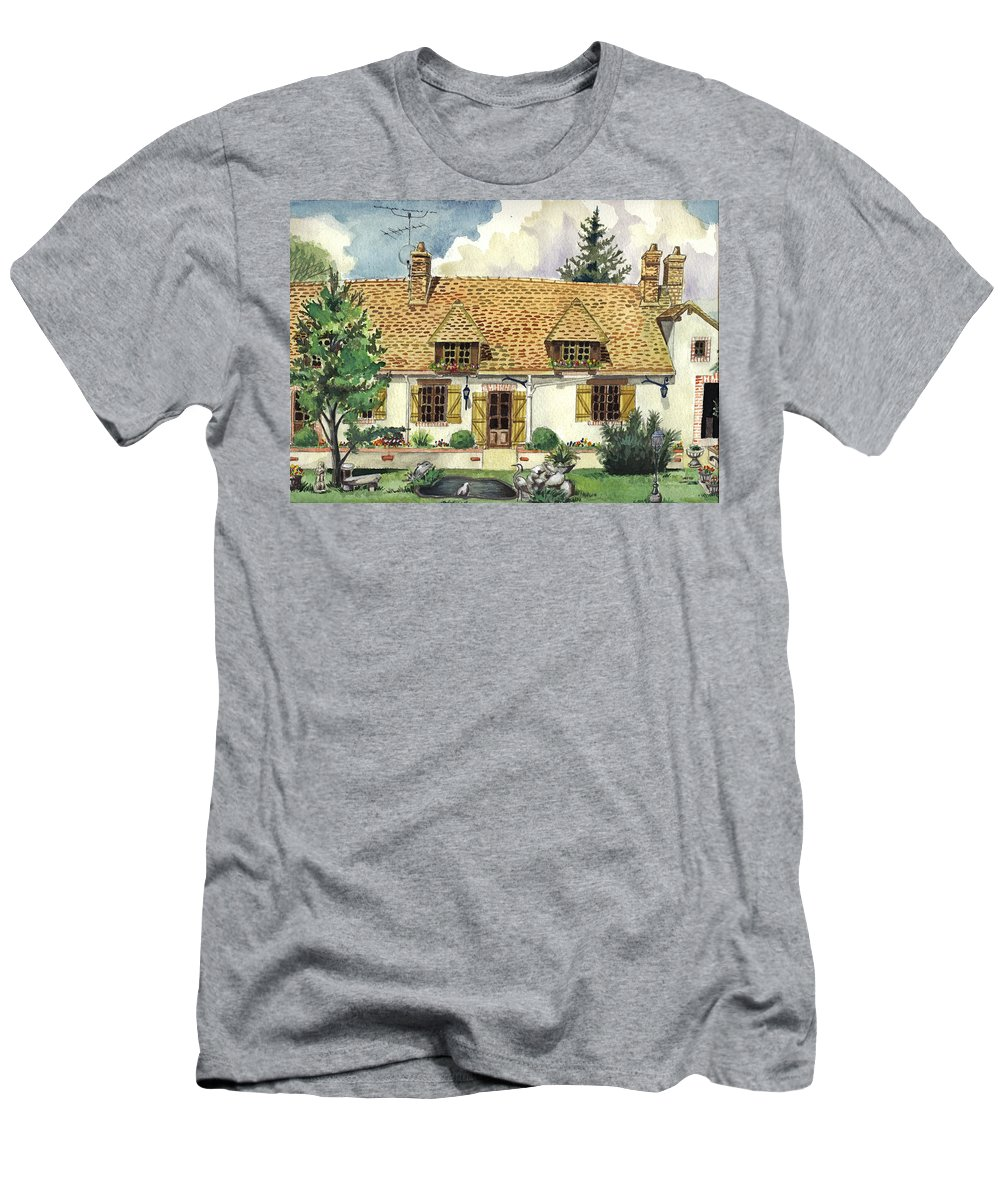 House Men's T-Shirt (Athletic Fit) featuring the painting Countryside House In France by Alban Dizdari
