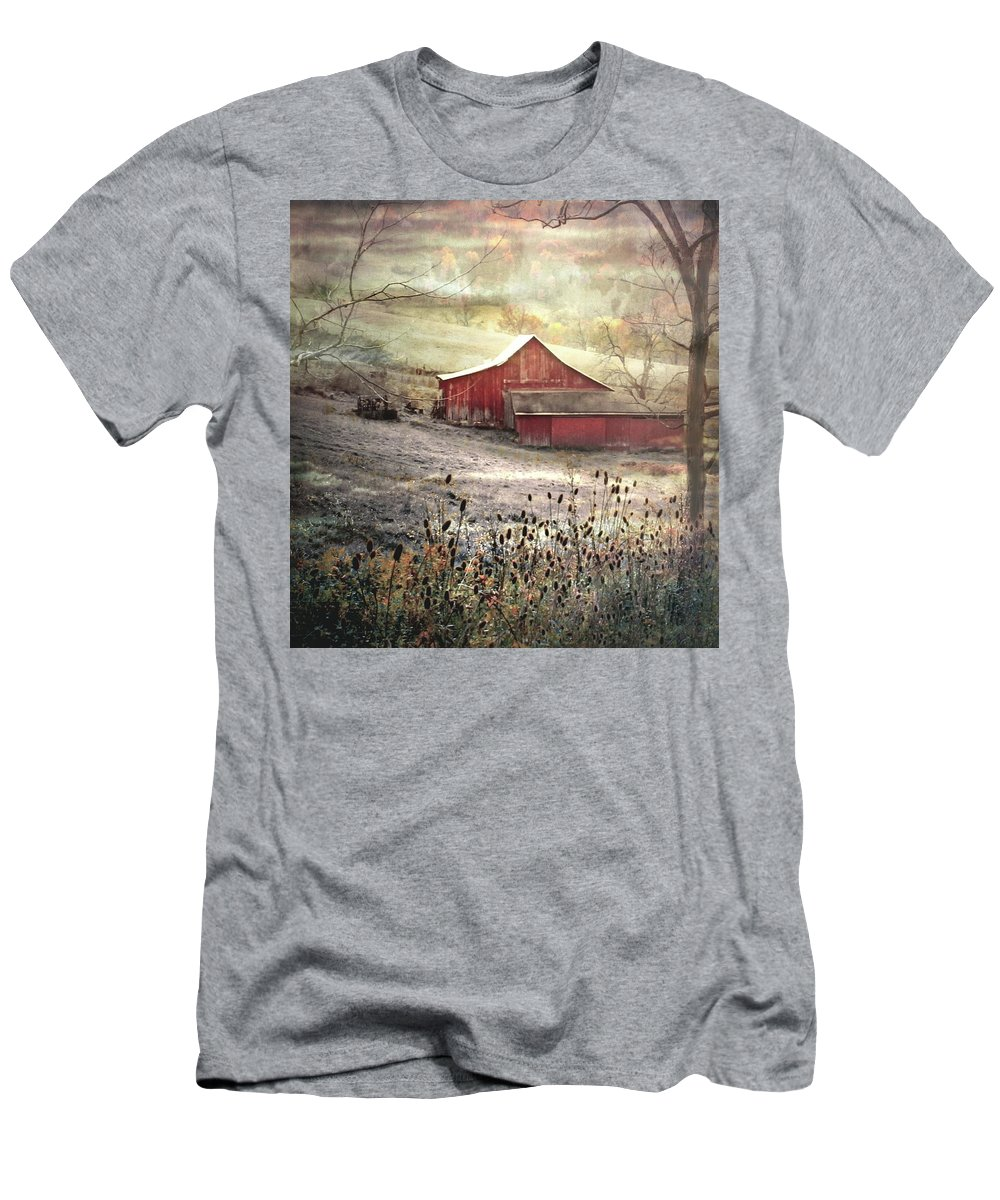 Farm Men's T-Shirt (Athletic Fit) featuring the photograph County Farm In Fall by Michael Forte