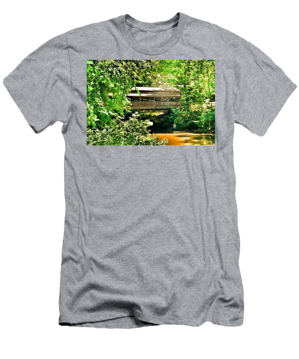 Covered Bridge At Lanterman's Mill Men's T-Shirt (Athletic Fit) featuring the photograph Covered Bridge At Lanterman's Mill by Lisa Wooten