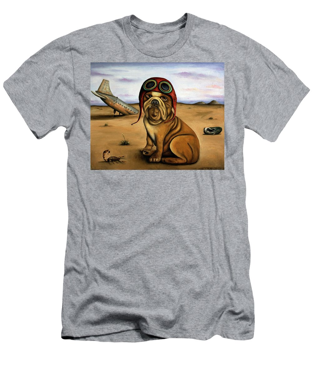 Plane Men's T-Shirt (Athletic Fit) featuring the painting Crash by Leah Saulnier The Painting Maniac