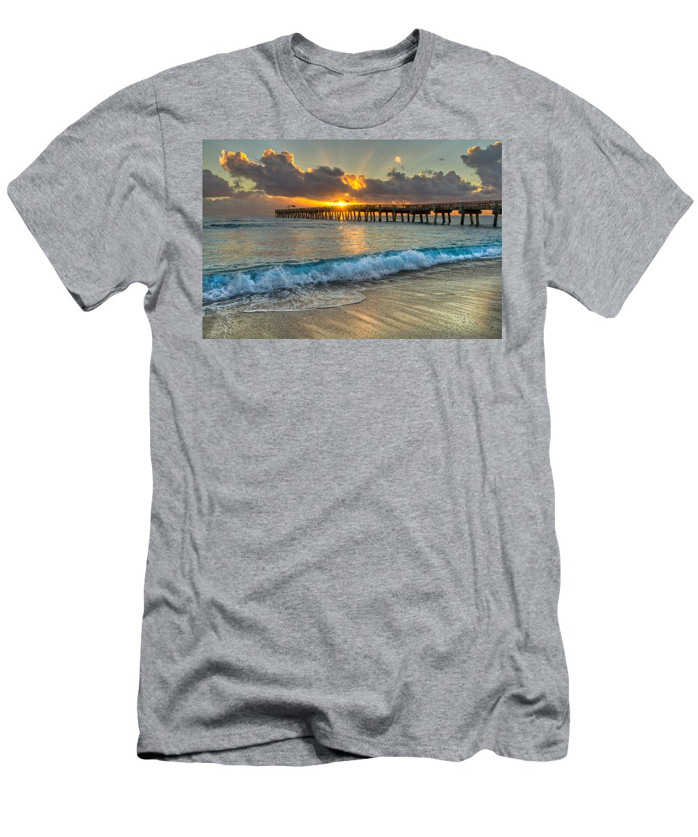 Clouds Men's T-Shirt (Athletic Fit) featuring the photograph Crashing Waves At Sunrise by Debra and Dave Vanderlaan