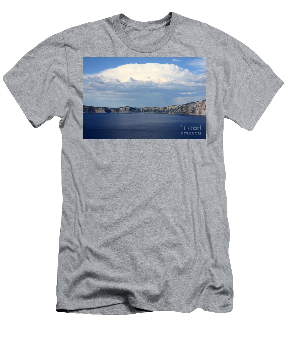 Clouds Men's T-Shirt (Athletic Fit) featuring the photograph Crater Lake by Carol Groenen