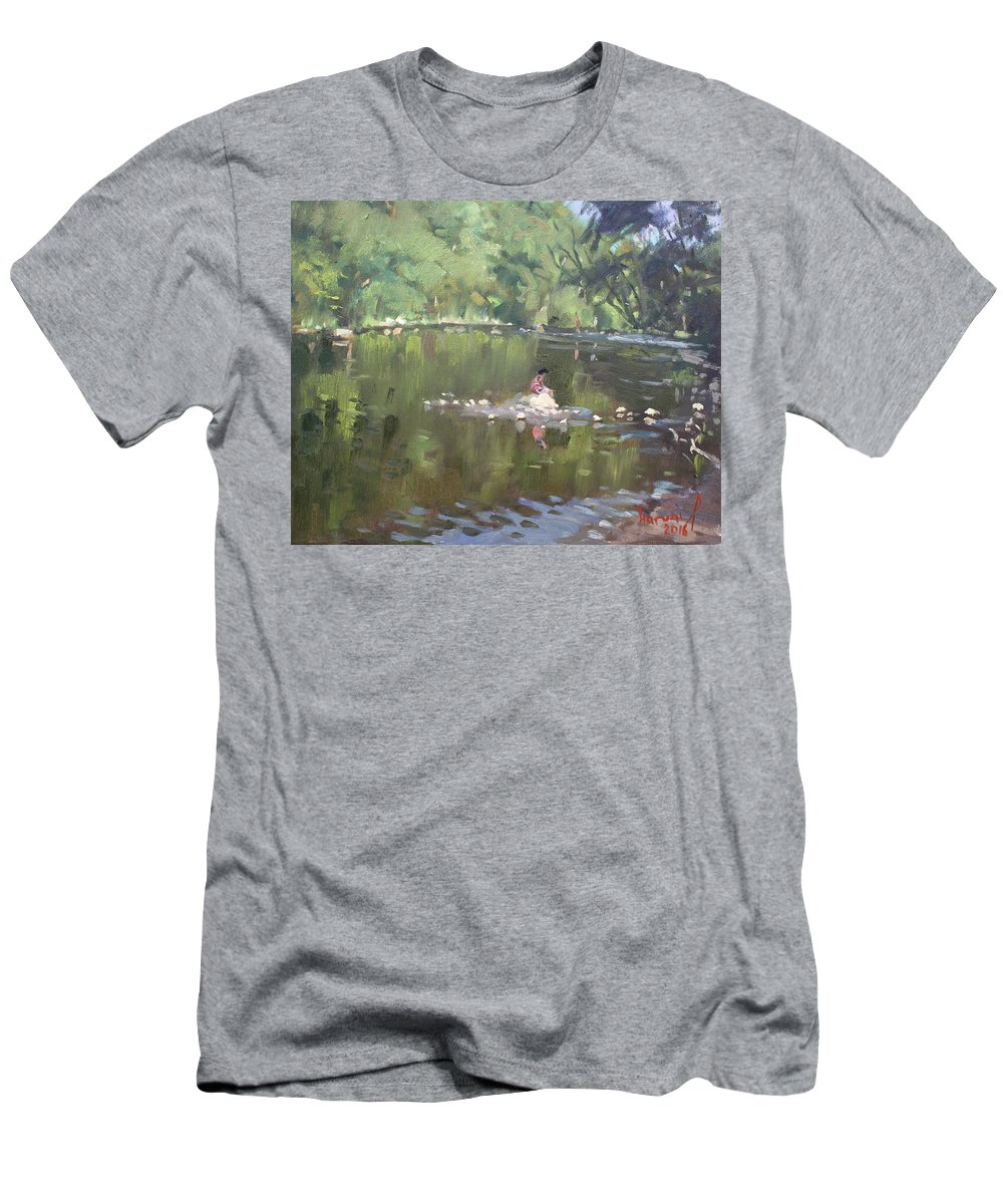 Credit River Men's T-Shirt (Athletic Fit) featuring the painting Credit River By Norval On by Ylli Haruni