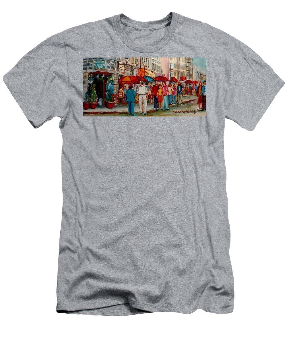 Creme De La Creme Cafe Men's T-Shirt (Athletic Fit) featuring the painting Creme De La Creme Cafe by Carole Spandau