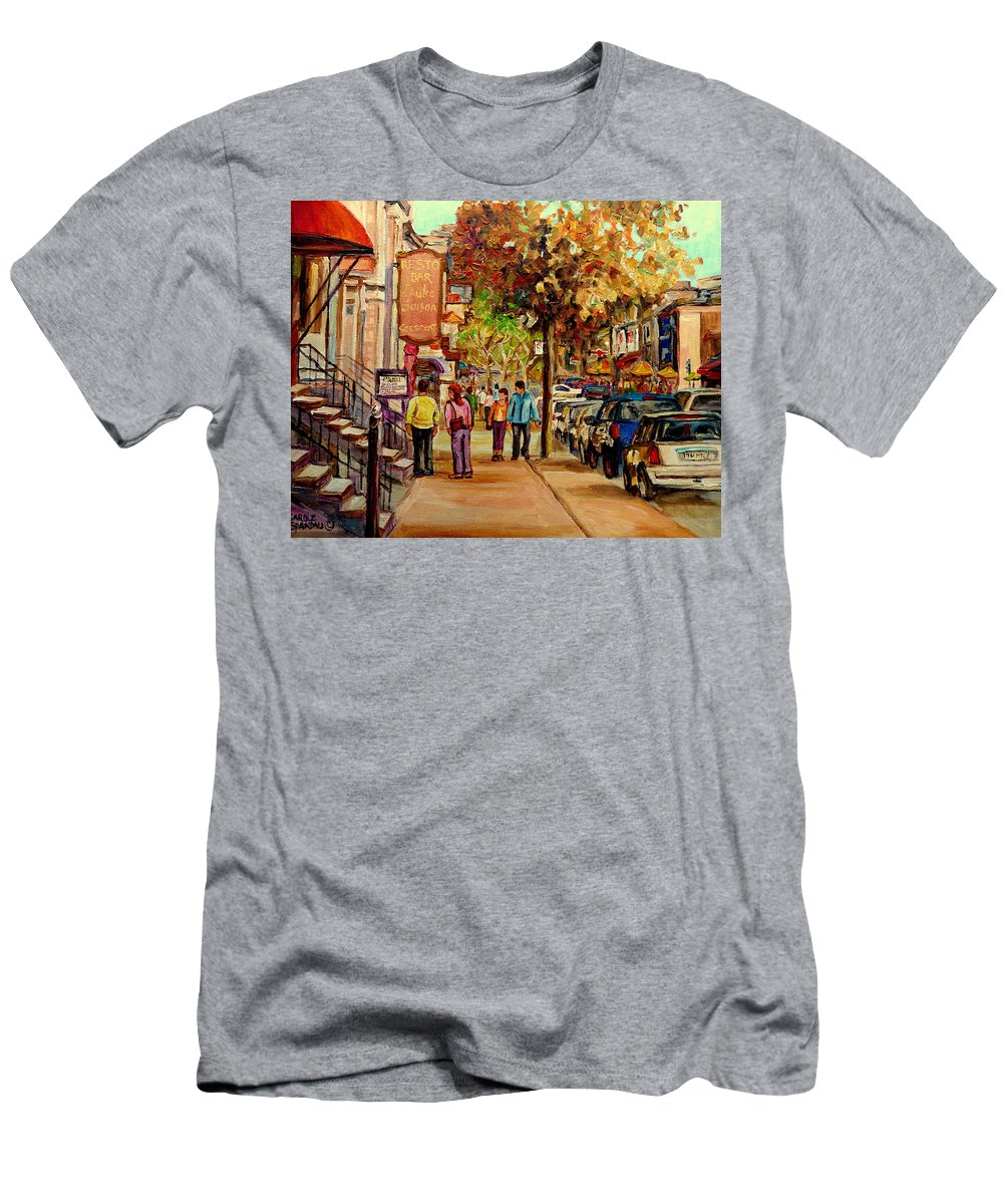 Montreal Streetscenes Men's T-Shirt (Athletic Fit) featuring the painting Crescent Street Montreal by Carole Spandau