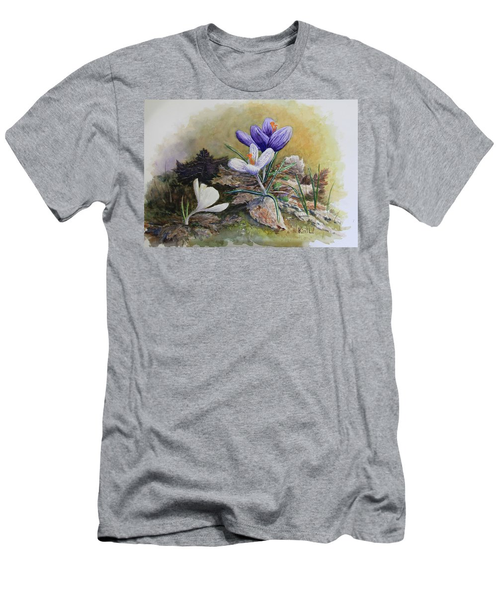 Crocus Flower Men's T-Shirt (Athletic Fit) featuring the painting Crocus by Always Wandering Art