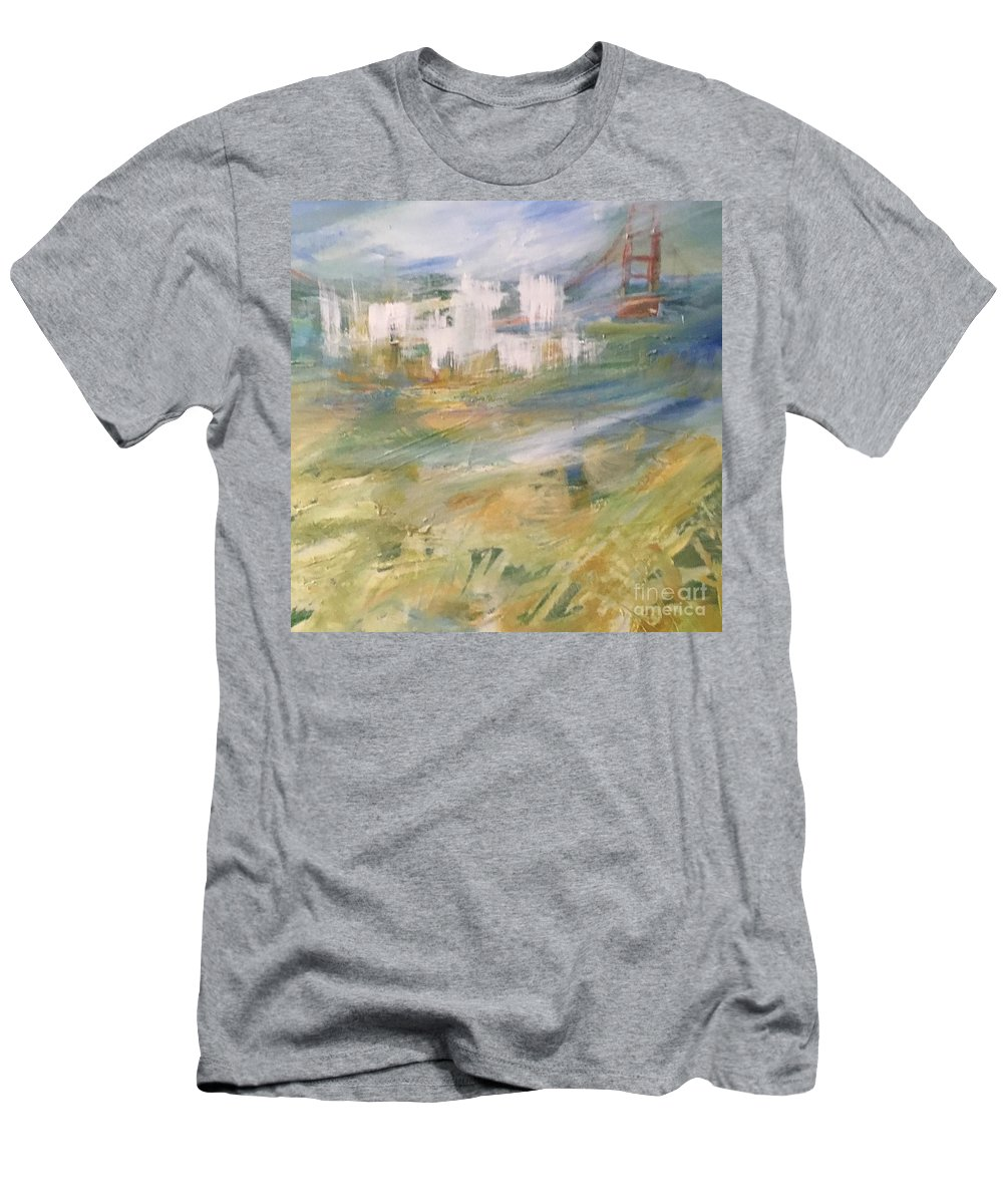 Golden Gate Bridge T-Shirt featuring the painting Cross A Bridge And Get Over It by Jill Morris Maxwell