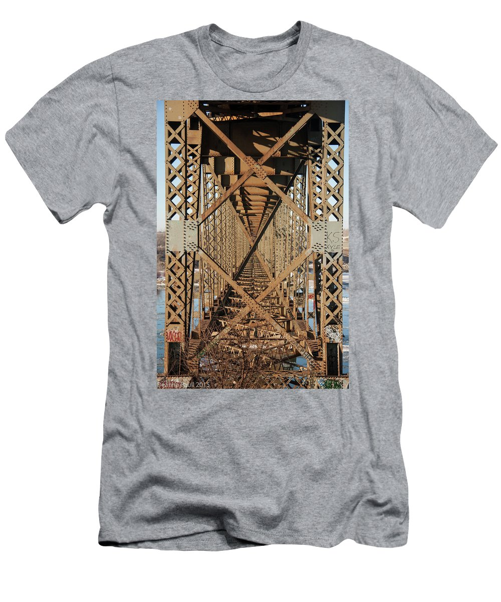 Bridge Men's T-Shirt (Athletic Fit) featuring the photograph Crossbeams by Deanna Paull