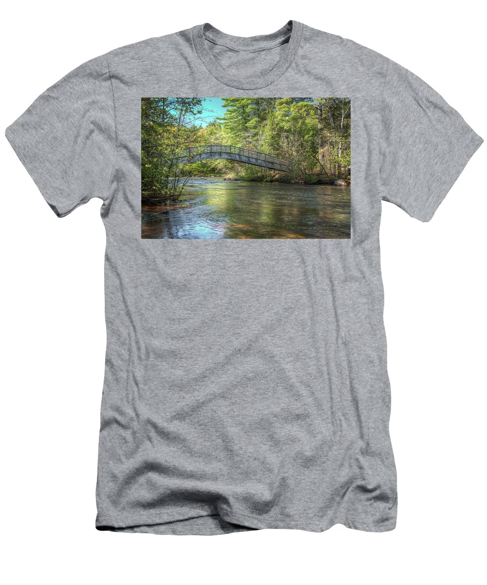 Bridge Mcclintock Men's T-Shirt (Athletic Fit) featuring the photograph Crossing by Brad Bellisle