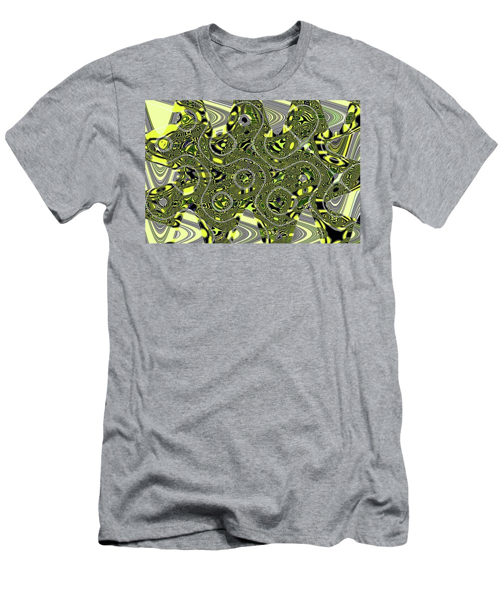 Crossing White Lines Abstract Men's T-Shirt (Athletic Fit) featuring the digital art Crossing White Lines Abstract by Tom Janca