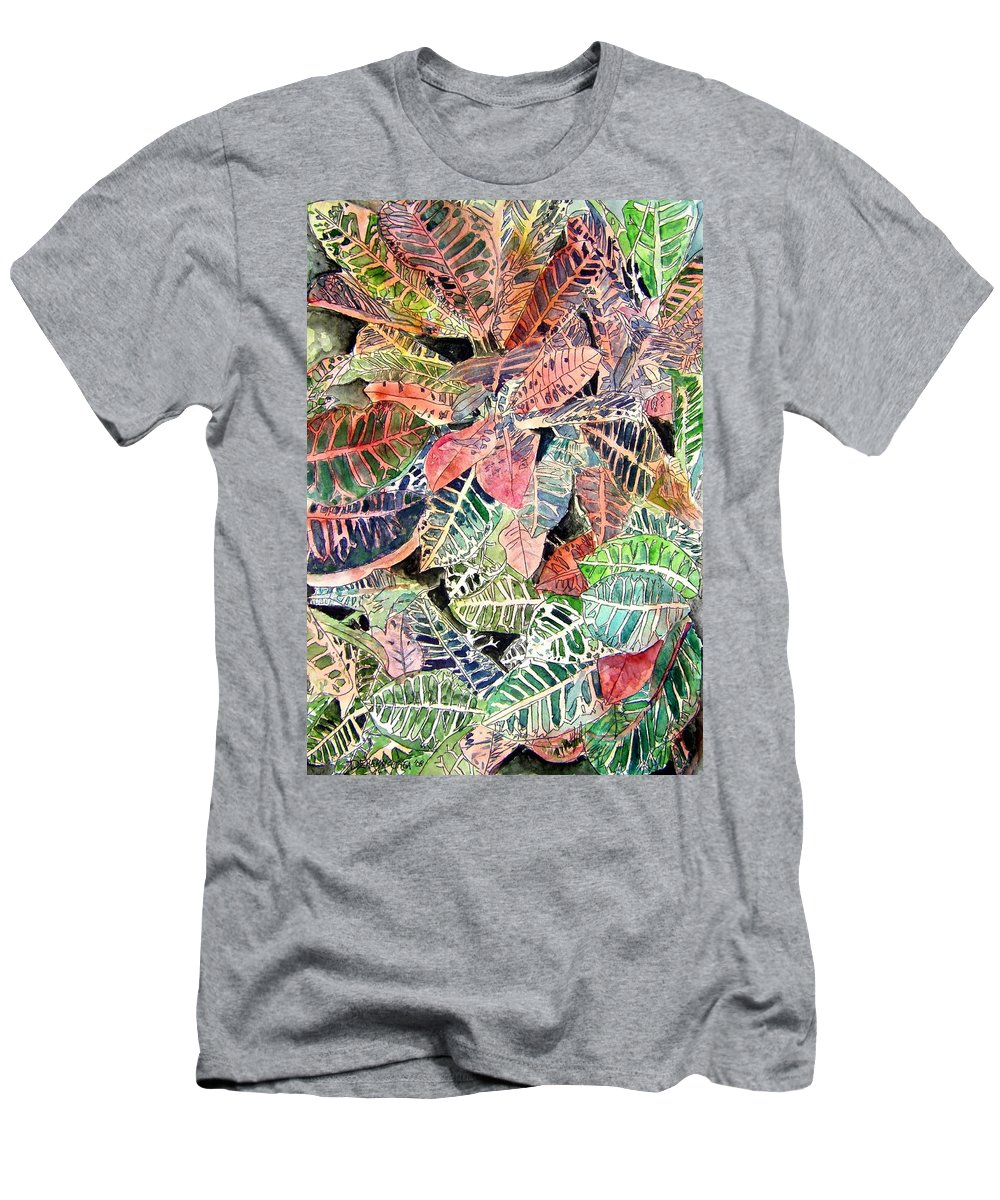 Croton T-Shirt featuring the painting Croton tropical art print by Derek Mccrea