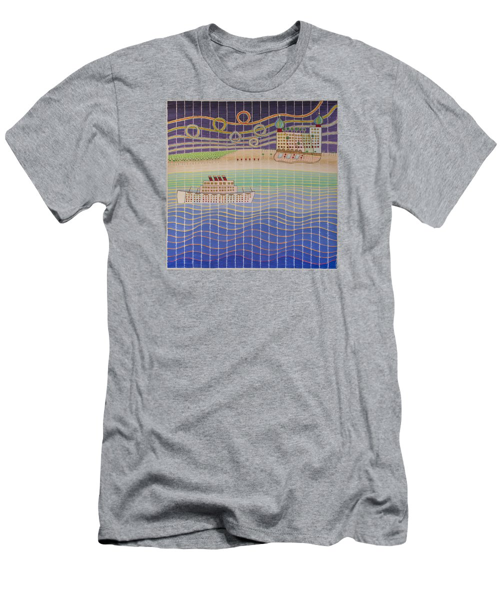 3d Men's T-Shirt (Athletic Fit) featuring the painting Cruise Vacation Destination by Jesse Jackson Brown